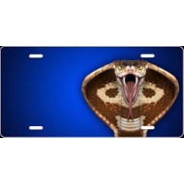 Cobra On Blue Offset Airbrush License Plate