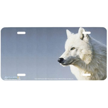 """Arctic Wolf Portrait"" Wolf License Plate"