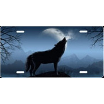 Howling Wolf - Blue Airbrush License Plate