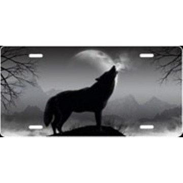 Howling Wolf - Grey Airbrush License Plate