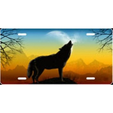 Howling Wolf Full Color Airbrush License Plate