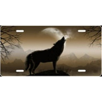 Howling Wolf - Mocha Airbrush License Plate