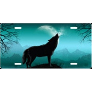 Howling Wolf - Teal Airbrush License Plate