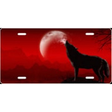 Howling Wolf Offset - Red Airbrush License Plate