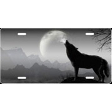 Howling Wolf Offset - Grey Airbrush License Plate