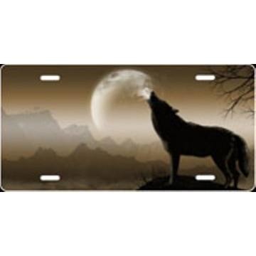 Howling Wolf Offset - Mocha Airbrush License Plate