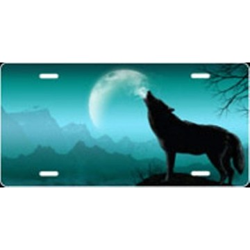 Howling Wolf Offset - Teal Airbrush License Plate