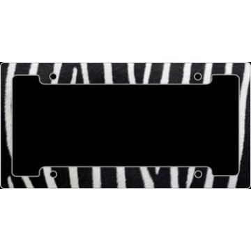 Zebra Print Metal License Plate Frame