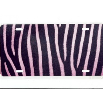 Zebra Fur Pink Airbrush License Plate